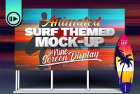 3d Animated Surfboard And Hd Display Mock Up Scene Template 27056336